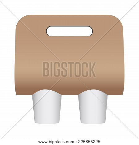 Blank Coffee Cup Carrier Mockup Isolated On White Background. Display Your Design On This Template.