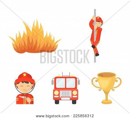 Fireman, Flame, Fire Truck. Fire Department Set Collection Icons In Cartoon Style Vector Symbol Stoc