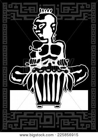 African Drummer. Percussion Players. Tribal Bongo Or Djembe Music. Sticker Logo Black And White Hand