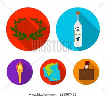 Greece, Country, Tradition, Landmark .greece Set Collection Icons In Flat Style Vector Symbol Stock