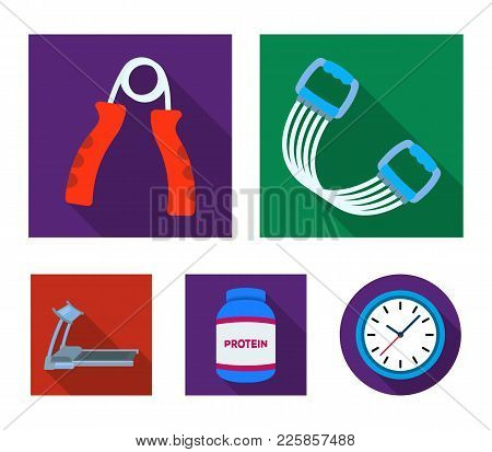 Protein, Expander And Other Equipment For Training.gym And Workout Set Collection Icons In Flat Styl