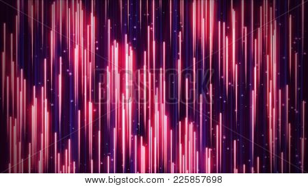 3D Illustration Retro Red Blue Background Of Neon Rays Falling Downwards