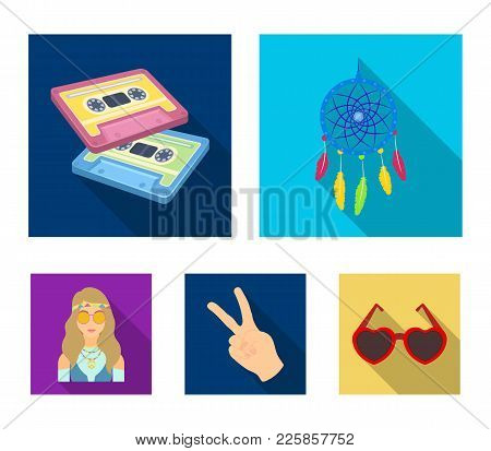 Amulet, Hippie Girl, Freedom Sign, Old Cassette.hippy Set Collection Icons In Flat Style Vector Symb