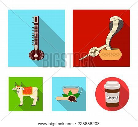 Country India Flat Icons In Set Collection For Design.india And Landmark Vector Symbol Stock  Illust