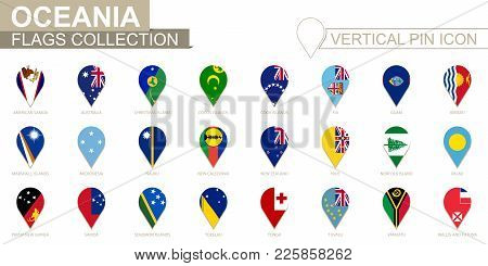 Vertical Pin Icon, Oceania Flag Collection. Vector Illustration.