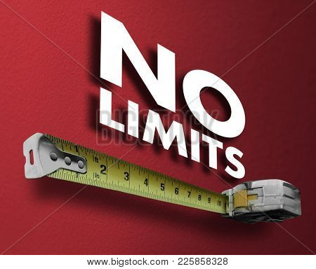 No Limits Measuring Tape Unlimited Success 3d Illustration