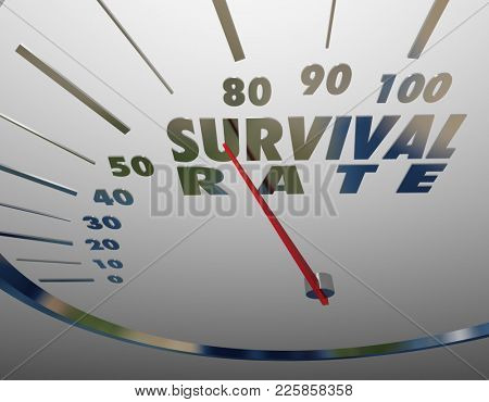Survival Rate Speedometer Measure Chance of Success 3d Illustration