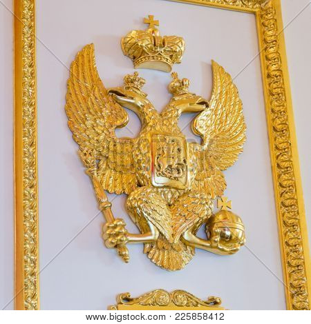 Symbol of Russia, two headed eagle at the ancient palace