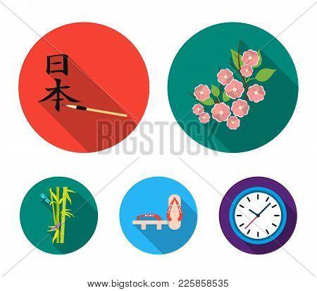 Geta, Sakura Flowers, Bamboo, Hieroglyph.japan Set Collection Icons In Flat Style Vector Symbol Stoc