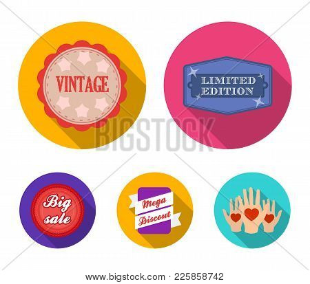 Limited Edition, Vintage, Mega Discont, Dig Sale.label, Set Collection Icons In Flat Style Vector Sy