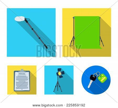 Hromakey, Script And Other Equipment. Making Movies Set Collection Icons In Flat Style Vector Symbol