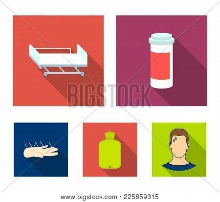 Heating Pad, Hospital Gurney, Acupuncture.mtdicine Set Collection Icons In Flat Style Vector Symbol