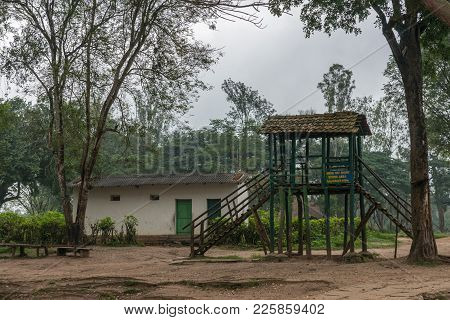 Coorg, India - October 29, 2013: Dubare Elephant Camp. Unsteady Old Dark Wooden Step-up Platform To