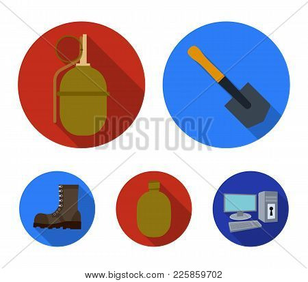 Sapper Blade, Hand Grenade, Army Flask, Soldier's Boot. Military And Army Set Collection Icons In Fl