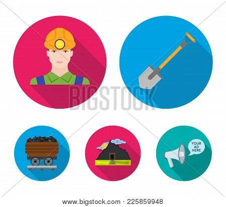 A Shovel, A Miner, An Entrance To A Mine, A Trolley With Coal.mine Set Collection Icons In Flat Styl