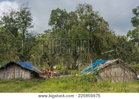 Coorg, India - October 29, 2013: Dubare Elephant Camp. Two Family Dwellings Are Long Bamboo-clay Hut