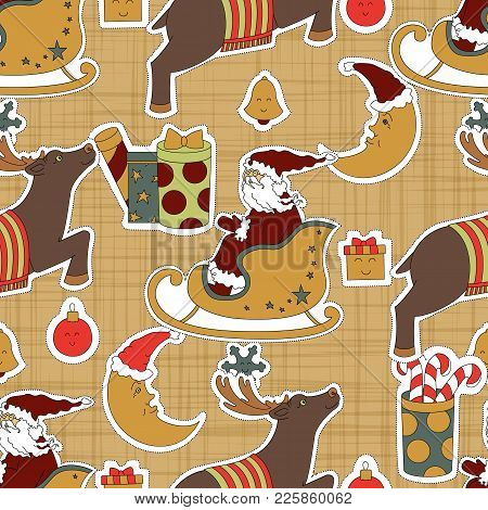 Fabric Decoration For Christmas. Santa Claus, Reindeer, Gifts And Moon Vector Illustration. Seamless