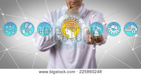 Pensive Unrecognizable Male Doctor Of Science Initiating Ai In Drug Manufacturing App. Concept For I