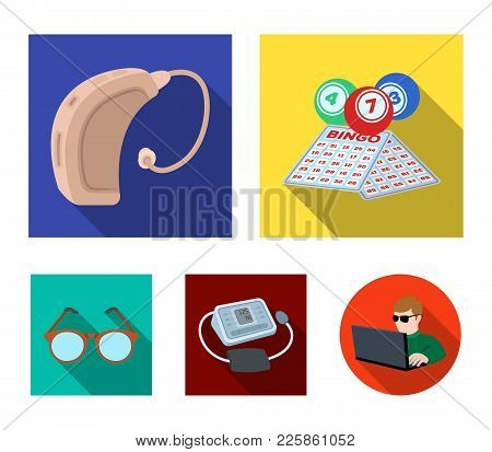 Lottery, Hearing Aid, Tonometer, Glasses.old Age Set Collection Icons In Flat Style Vector Symbol St