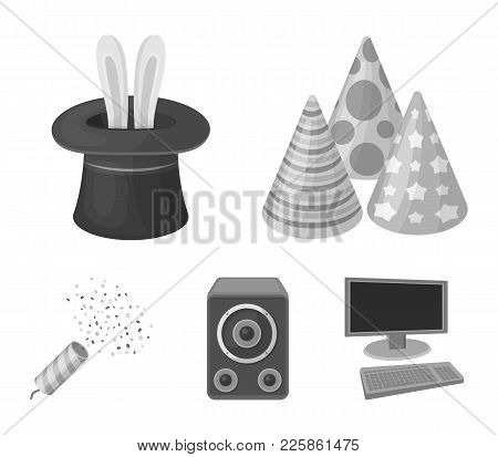 Tricks, Music And Other Accessories At The Party.party And Partits Set Collection Icons In Monochrom