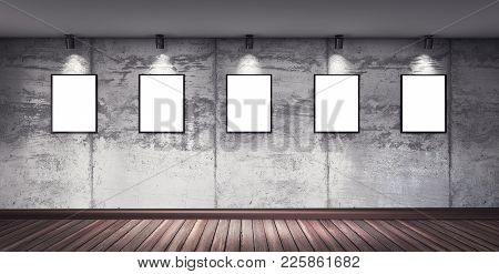 Modern Concrete Gallery Room With Wooden Floor, Directional Spotlight And Frames. Product Artwork Ex
