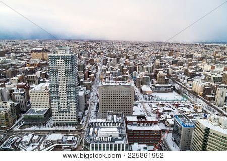 Sapporo, Japan, January 28, 2018:  Aerial Sunset View Of Central Sapporo City During Winter With Sno
