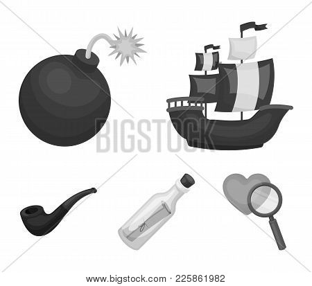Pirate, Bandit, Ship, Sail .pirates Set Collection Icons In Monochrome Style Vector Symbol Stock Ill