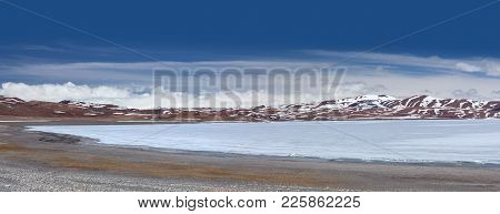 Panoramic View Of Holy Rakshas Tal Lake Under Ice In Ngari, Western Tibet, China. This Lake Also Kno