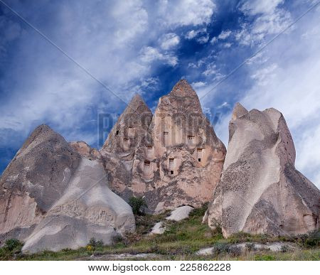 Unique Geological Formations In Cappadocia, Turkey. Cappadocian Region With Its Valley, Canyon, Hill
