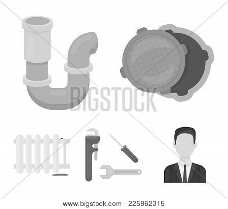Sewage Hatch, Tool, Radiator.plumbing Set Collection Icons In Monochrome Style Vector Symbol Stock I