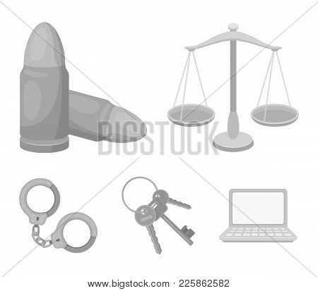 Scales Of Justice, Cartridges, A Bunch Of Keys, Handcuffs.prison Set Collection Icons In Monochrome