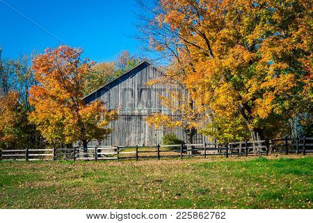 Autumn Landscape And Barn In Rural Ontario Canada