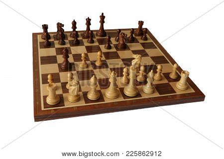 Photo Of Chess Opening On White Background. Bogo-indian Defence.