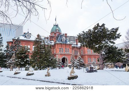 Sapporo, Japan, January 28, 2018: The Red Brick Former Hokkaido Government Office Is Popular Tourist