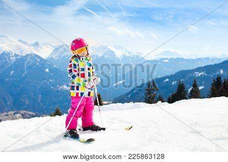 Ski And Snow Fun. Kids Skiing. Child Winter Sport.