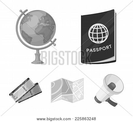 Vacation, Travel, Passport, Globe .rest And Travel Set Collection Icons In Monochrome Style Vector S