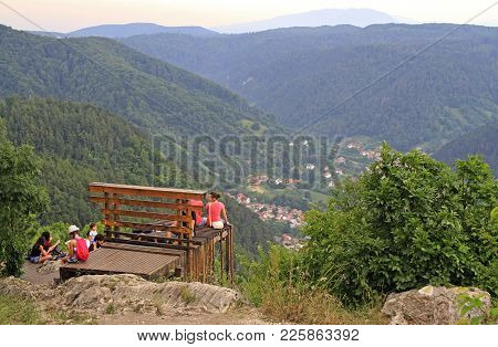 Brasov, Romania - July 25, 2017: People Are Enjoying By View From The Top Of Tampa Mounitain In Bras