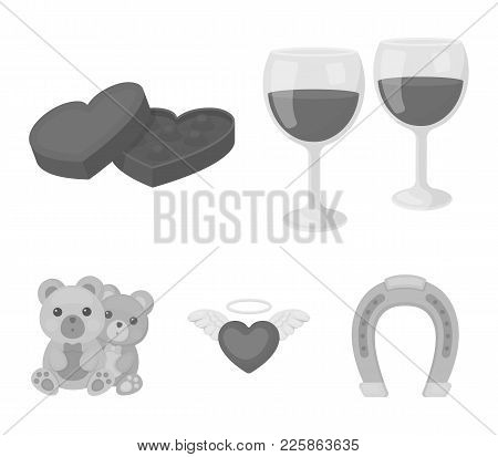 Glasses With Wine, Chocolate Hearts, Bears, Valentine.romantik Set Collection Icons In Monochrome St