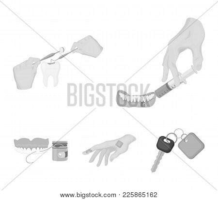 Anesthetic Injection, Dental Instrument, Hand Manipulation, Tooth Cleaning And Other  Icon In Monoch