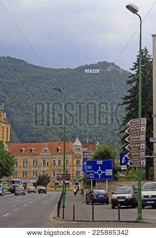 Brasov, Romania - July 25, 2017: View Of Road In Old Town Of Brasov, Romania