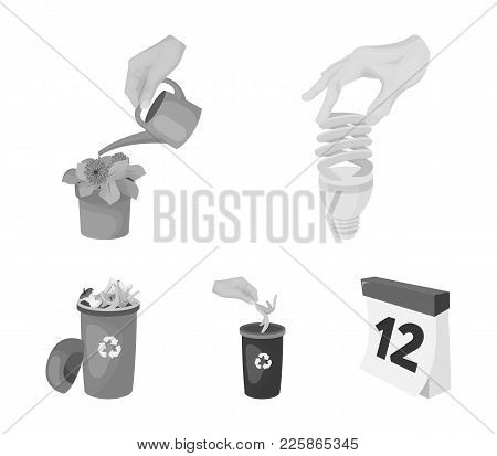 Energy-saving Light Bulb, Watering A Houseplant And Other  Icon In Monochrome Style. Garbage Can Wit