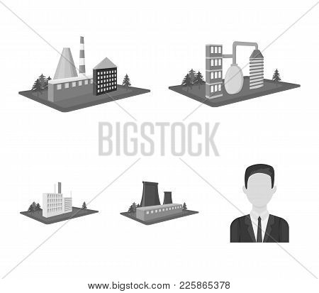 Processing Factory, Metallurgical Plant. Factory And Industry Set Collection Icons In Monochrome Sty
