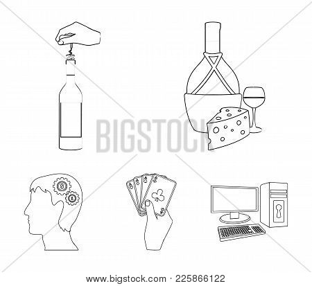 Bottle, A Glass Of Wine And Cheese, Clogging With A Corkscrew And Other Web Icon In Outline Style. A
