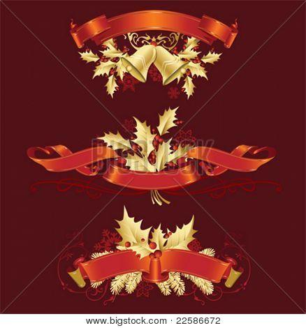 Vector Set von Weihnachten und Neujahr Dekorationen (Objekte, Hintergrund und Banner)