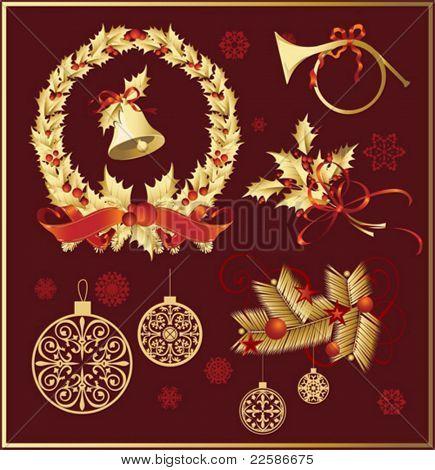 Vector Set von Weihnachten und Neujahr Dekorationen (Objekte, Hintergrund und Schneeflocken)
