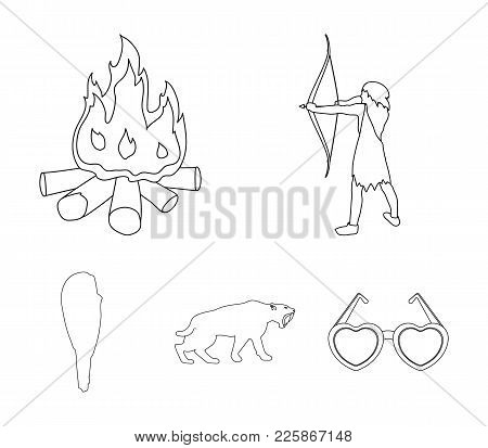 Man, Hunter, Onion, Bonfire .stone Age Set Collection Icons In Outline Style Vector Symbol Stock Ill