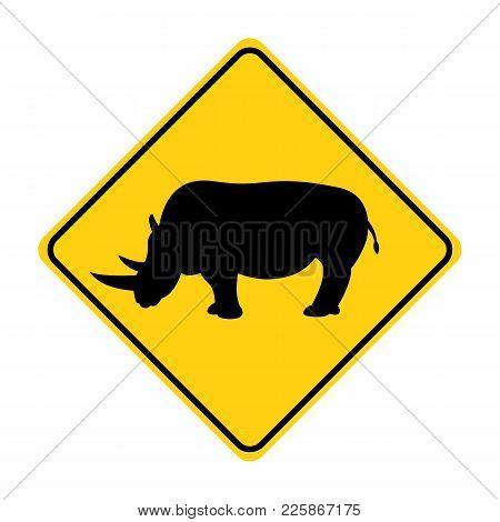 Rhino Silhouette Animal Traffic Sign Yellow  Vector Illustration