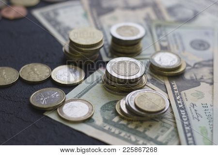 Coins And Paper United States Money On The Table. Euro Coins. Usa Money. Euro Currency. Money Concep