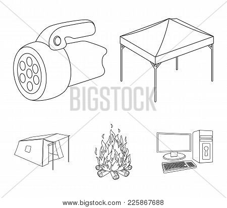 Awning, Fire And Other Tourist Equipment.tent Set Collection Icons In Outline Style Vector Symbol St