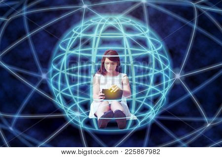 Girl with tablet surrounded by worldwide internet network, collage